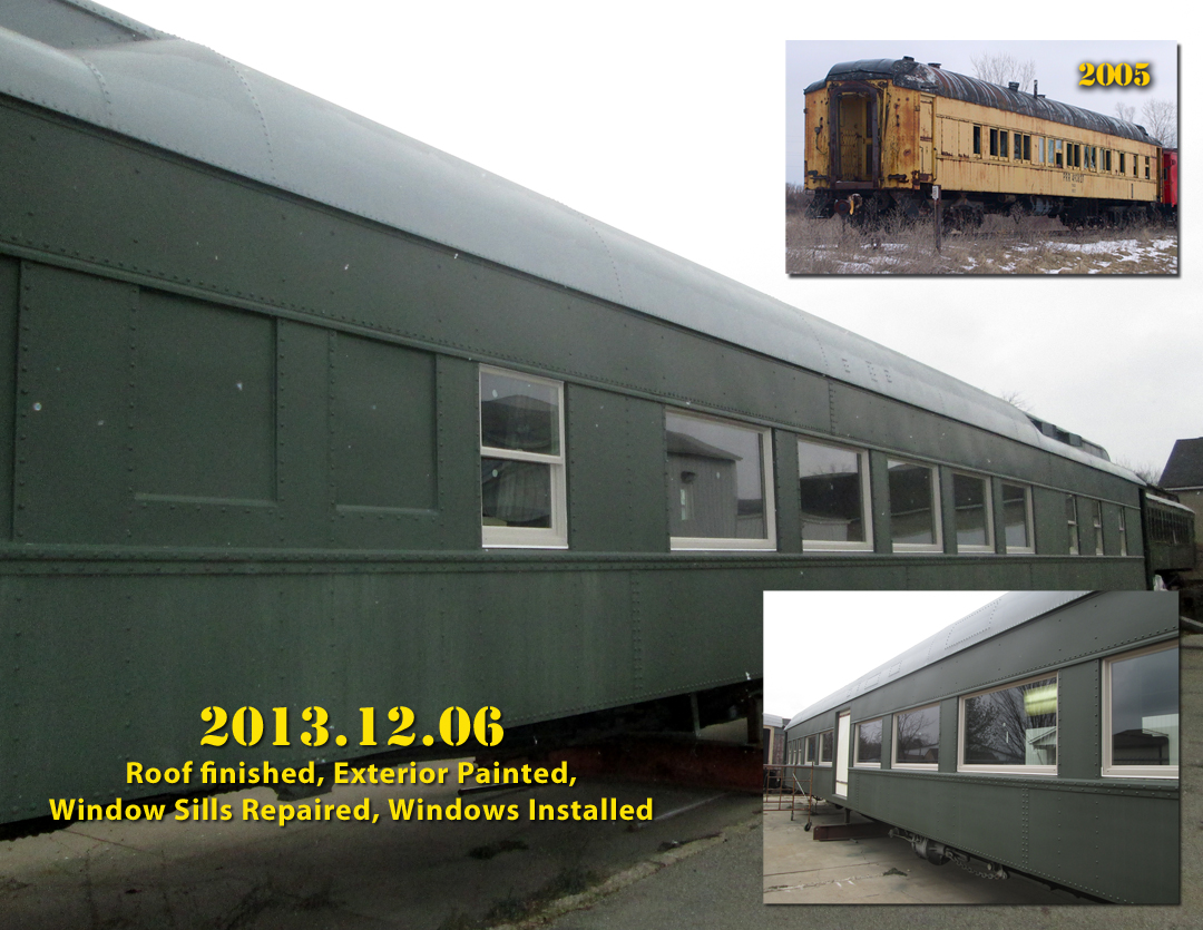 ADA Railcar - December 2013 shows final Pullman paint color and window installation completed.