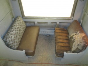 Original 1929 Pullman seat cushions (right) will be re-upholstered with Steelcase/DesignTex fabrics as shown at left.