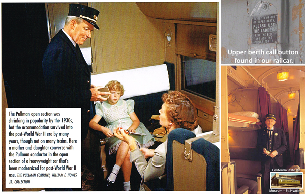 Convertible seating/sleeping quarters of a Pullman, heavyweight sleeper.