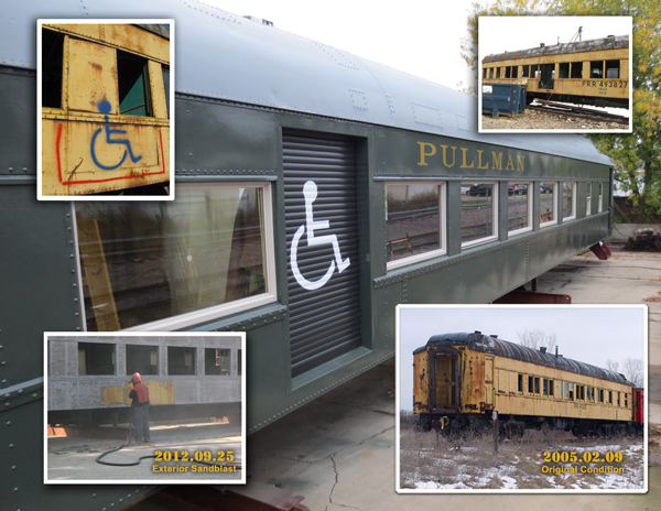Heavyweight Pullman Sleeper renovated for use by wheelchairs.